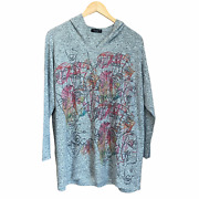 Inoah Art To Wear Gray Hoodie Artsy Soft Sweater Pullover Made In Usa