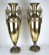Large Pair Neoclassical Antique Brass Urns 27 1/2andrdquo H