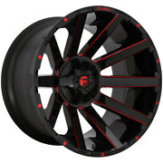 4-fuel D643 Contra 24x12 5x5/5x5.5 -44mm Black/milled/red Wheels Rims 24 Inch