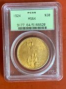 1924 Us Gold 20 Saint-gaudens Double Eagle - Pcgs Ms64 Old Holder