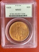 1925 Us Gold 20 Saint-gaudens Double Eagle - Pcgs Ms63 Old Holder