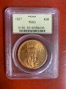 1927 Us Gold 20 Saint-gaudens Double Eagle - Pcgs Ms63 Old Holder 8439