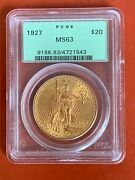 1927 Us Gold 20 Saint-gaudens Double Eagle - Pcgs Ms63 Old Holder 1543