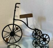 Decorative Metal Wire And Wood Antique Style Tricycle Solid Pieceno Moving Part