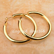 18k Yellow Gold Filled Classic Lightweight 5mm Thick Round Tube Hoop Earrings P7