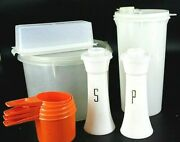 14 Vtg Tupperware Salt Pepper Butter Measuring Cups Drink And Storage Container