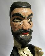 Antique Hand Carved Hand Puppet Large Folk Art Vintage Doll/toy Punch And Judy