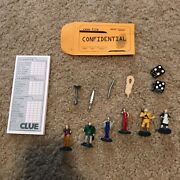 Clue Board Game Replacement Pieces Rope Knife Pipe Case File Notepad Characters