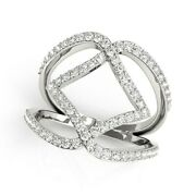14k White Gold Entwined Design Diamond Dual Band Ring 3/4 Cttw