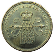1689-1989 Tercentenary Of The Bill Of Rights Andpound2 Two Pound Coin.