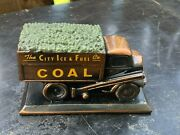 Vtg City Ice And Fuel Co Bronze Metal Coal Delivery Truck Paperweight Advertising