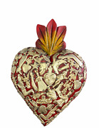 Hand Made Milagros Wood Sacred Heart Hand Carved Painted Gifts 8 X 5 3