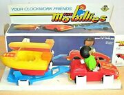 Clockwork 'mo-billies' Car, Boat And Trailer Toy Mib By Golden Rose / Bandai Old