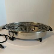 Saladmaster West Bend Electric Smokeless Broiler Grill Oval Works Silver Usa