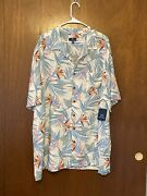 George White Tropical Floral Hawaiian Button Front Shirt Mens Size 3xl 54-56