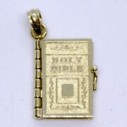 14k Solid Yellow Gold Holy Bible Lords Prayer Mini Book Charm Pendant Pages Turn