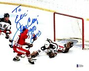 To Eric - Jim Craig Signed Team Usa Miracle On Ice 8x10 Inch Photo + Beckett Coa