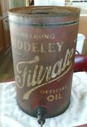 Vintage Gas And Oil Can Tin Filtrate Armstrong Siddeley Oil Dispenser