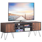 Tv Stand Media Center Storage Cabinet And Shelf Hold Up To 60 Tv W/ Metal Leg