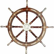 Maritime Crafted Brass And Wooden Ship Wheel Gift Decor Boat Collectibles Antique