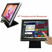 15 Touch Screen Lcd Display Monitor Cash Register 110v Multi-position Pos Stand
