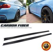 Side Skirts Extension Door Edge Lip For Bmw F82 M4 14-17 Body Kits Carbon Fiber