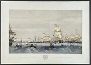 Brierly - Fleet Provisioning At Sea. 11 1855 Fleets Hand-colored Lithograph
