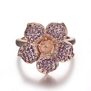 14k Rose Gold Party Jewelry Flower Ring 0.7ct Diamonds Amethyst Pearl 5mm To 6mm