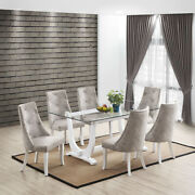 Kings Brand Furniture - Elmer 7 Piece Dining Set, Table And 6 Chairs, White/silver