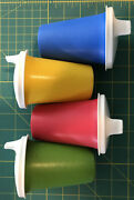 4 Vintage Tupperware Childand039s Primary Color Bell Tumblers 4 Dome Sippy Lids