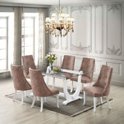 Kings Brand - Elmer 7 Piece Dining Set, Table And 6 Chairs, White/dark Brown