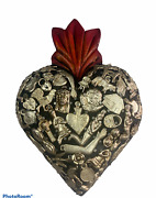 Hand Made Milagros Wood Sacred Heart Hand Carved Painted Gifts 8 X 5 8