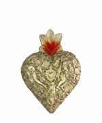 Hand Made Milagros Wood Sacred Heart Hand Carved Painted Gifts 8 X 5 9
