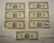 1953 - 1963 - Two Dollar Note Red Seal 2 Bill 5 1976 2 One With Texas Stamp