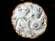Antique Oyster Plate Hand Painted Violets