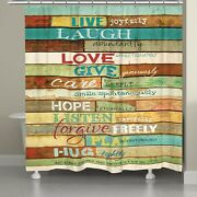 Laural Home Live Laugh Love Inspirational Shower Curtain Brown 71 X 74
