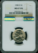 1988 D Jefferson Nickel Ngc And Mac Ms67 5fs Finest Spotless