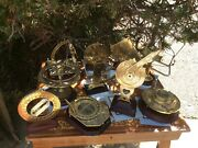 Vintage 10 Pc Franklin Mint Naval Nautical Collection Brass Sextant Theodolite