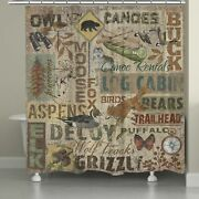 Laural Home Rustic Lodge Words Shower Curtain 71-inch X Brown/beige N/a