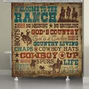 Laural Home Rodeo Words Shower Curtain Brown 71 X 72
