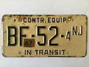 1967 New Jersey Construction Equipment In Transit License Plate Tag