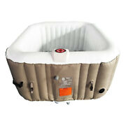 Aleko 4 Person Square Inflatable Jetted Hot Tub With Fit Cover Brown Used