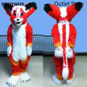 Red Long Fur Husky Wolf Dog Mascot Costume Cosplay Furry Suit Party Outfit
