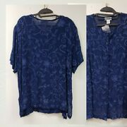 New Avenue Plus Size 22/24 Button Blouse Tunic Blue On Blue Allover Embroidered