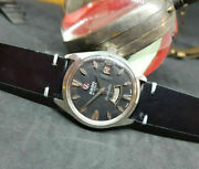 Rare Vintage 70and039s Rado Daymaster Daydate Black Dial Auto Manand039s Watch Big Logo