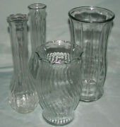 Clear Glass Flower Vases 4 Lot Mixed Includes 2 Bud Vases Euc