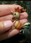 Glorious Agate Cabochon 14k Yellow Gold Enamel Rooster Brooch