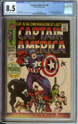 Captain America 100 Cgc 8.5 Cr/ow Pages // 1st Issue + Black Panther App 1968