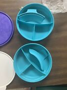 Tupperware Children's Divided Bowls 2552 And Handle, And 1 Microwave Mug Set Of 3