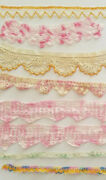 Vintage Pink Crochet Lace 40and039s 9 Trim Edging Sewing Costume Doll Lot A36